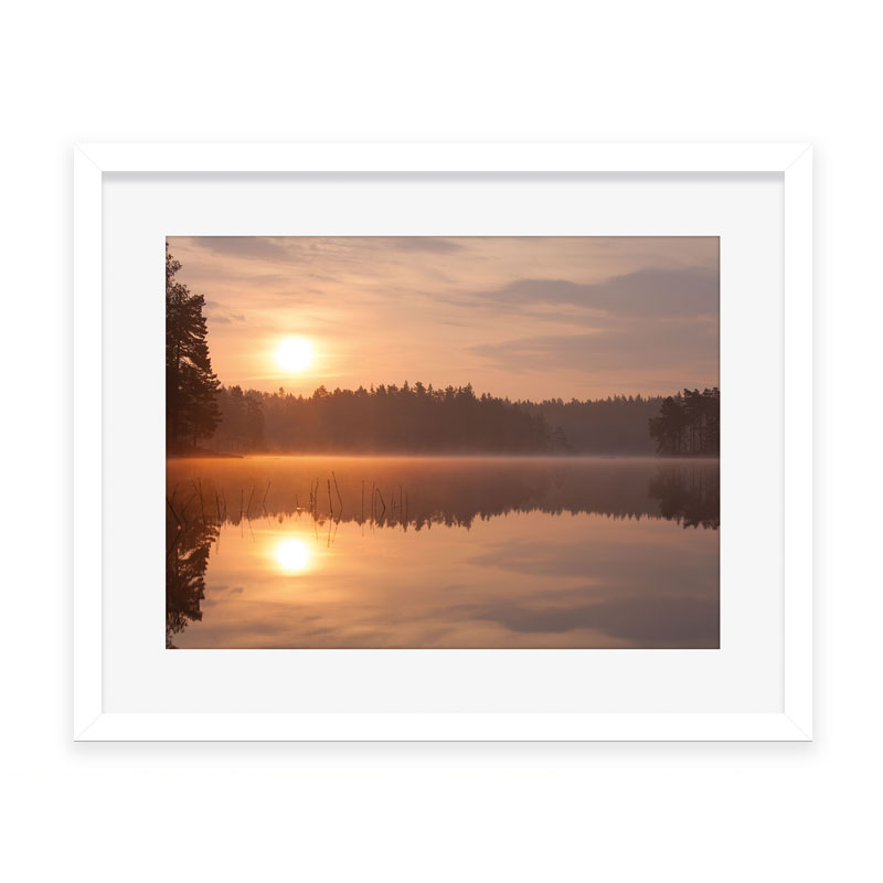 sunrise over lake framed