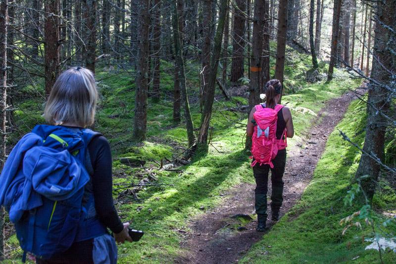 Två kvinnor vandrar på bergslagsleden etapp 17